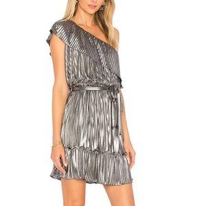 Saylor Diana pleated metallic one shoulder dress